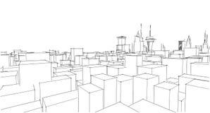 Schizzo architettonico astratto del disegno, città Scape Fotografie Stock
