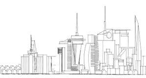 Schizzo architettonico astratto del disegno, città Scape Immagini Stock