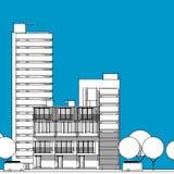 Schizzo architettonico astratto del disegno, città Scape Immagine Stock