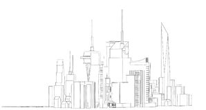 Schizzo architettonico astratto del disegno, città Scape Fotografia Stock