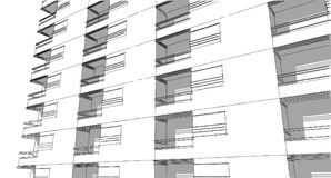 Schizzo architettonico astratto del disegno, illustrazione Fotografie Stock Libere da Diritti