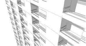 Schizzo architettonico astratto del disegno, illustrazione Immagini Stock