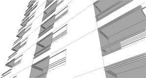 Schizzo architettonico astratto del disegno, illustrazione Immagini Stock Libere da Diritti
