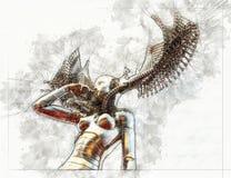 Schizzo artistico di Digital di un cyborg illustrazione di stock