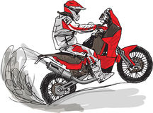 Schizzo astratto del motociclista. Illustrazione di vettore Immagine Stock