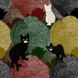 Schizzo astratto di piccoli gattini in bianco e nero di divertimento Fotografie Stock Libere da Diritti