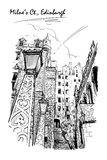 Schizzo in bianco e nero della corte di Milnes Immagine Stock