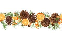 Schizzo botanico realistico dell'inchiostro della ghirlanda variopinta dell'albero di abete con il pinecone isolata sul modello s illustrazione di stock