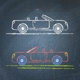 Schizzo convertibile dell'automobile sulla lavagna Fotografia Stock Libera da Diritti
