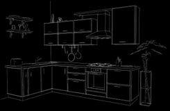 Schizzo d'angolo moderno di contorno della cucina in bianco e nero Fotografia Stock Libera da Diritti