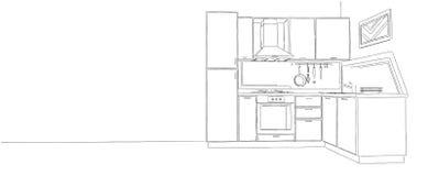 Schizzo d'angolo moderno di contorno della cucina in bianco e nero Fotografia Stock