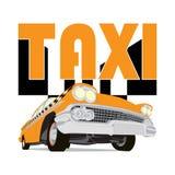 Schizzo d'annata del fumetto dell'automobile del taxi Immagini Stock Libere da Diritti