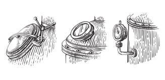 Schizzo d'annata dell'apparecchiatura di distillazione Illustrazione Moonshining di vettore royalty illustrazione gratis