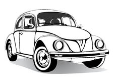 Schizzo d'annata dell'automobile, libro da colorare, disegno in bianco e nero, monocromatico Retro trasporto del fumetto Illustra Immagine Stock Libera da Diritti