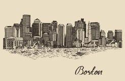 Schizzo d'annata dell'illustrazione di vettore dell'orizzonte di Boston fotografie stock