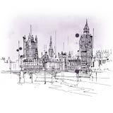 Schizzo d'annata di stile di Big Ben e del Parlamento Immagini Stock