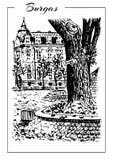 Schizzo d'annata di vettore del palazzo Vecchia casa europea Fotografia Stock Libera da Diritti