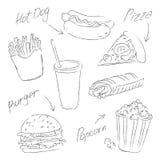 Schizzo degli alimenti a rapida preparazione su un fondo bianco royalty illustrazione gratis