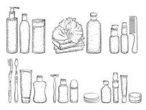 Schizzo degli elementi per il bagno Fotografie Stock