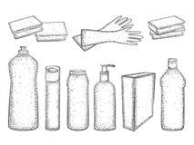 Schizzo degli elementi per la pulizia isolati su fondo bianco Immagini Stock