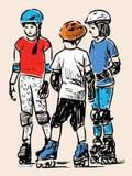Schizzo dei bambini della scuola elementare sui pattini di rullo Fotografie Stock Libere da Diritti