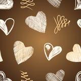 Schizzo dei cuori di amore disegnato a mano Fotografia Stock