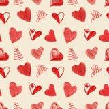 Schizzo dei cuori di amore disegnato a mano Immagine Stock