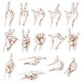 Schizzo dei gesti di mano Immagini Stock Libere da Diritti