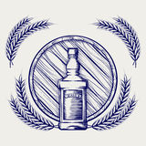 Schizzo del barilotto e del grano della bottiglia di whiskey illustrazione vettoriale