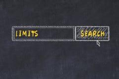 Schizzo del bordo di gesso del motore di ricerca Concetto di ricerca dei limiti immagine stock