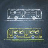 Schizzo del bus sulla lavagna Fotografia Stock
