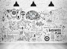 Schizzo del business plan su un muro di mattoni Fotografia Stock Libera da Diritti