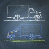 Schizzo del camion sulla lavagna Fotografie Stock Libere da Diritti