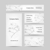 Schizzo del campo di autunno, progettazione di biglietti da visita Fotografie Stock Libere da Diritti