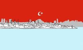 Schizzo del centro del profilo di panorama di Costantinopoli Immagine Stock Libera da Diritti