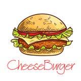 Schizzo del cheeseburger degli alimenti a rapida preparazione per progettazione del menu del caffè Immagini Stock Libere da Diritti