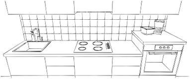 Schizzo del contatore di cucina con la spruzzata delle mattonelle indietro isolata Immagine Stock Libera da Diritti