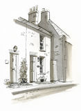 Schizzo del cottage nel servizio di Burhham, Norfolk, Regno Unito Immagini Stock Libere da Diritti