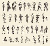 Schizzo del disegno della mano dell'illustrazione di vettore della gente