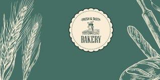 Schizzo del forno Orecchie, rotoli, pasticcerie, pane, baguette, matterello Fotografie Stock