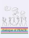 Schizzo del fumetto del profilo, dialogo di pace Fotografie Stock Libere da Diritti