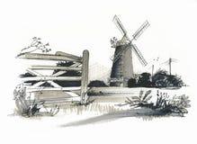 Schizzo del laminatoio di Burhham Overy, Norfolk, Regno Unito Fotografia Stock
