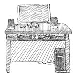 Schizzo del mio computer sull'illustrazione di vettore della tavola su bianco royalty illustrazione gratis
