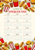 Schizzo 2018 del modello del calendario degli alimenti a rapida preparazione di vettore Fotografia Stock