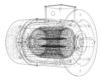 Schizzo del motore elettrico Vettore illustrazione vettoriale