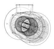 Schizzo del motore elettrico Vettore royalty illustrazione gratis