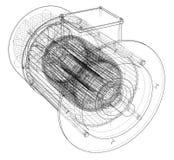 Schizzo del motore elettrico Vettore illustrazione di stock