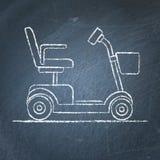 Schizzo del motorino di mobilità sulla lavagna Immagini Stock