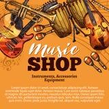 Schizzo del negozio di musica di vettore degli strumenti musicali illustrazione di stock
