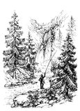 Schizzo del pescatore illustrazione vettoriale